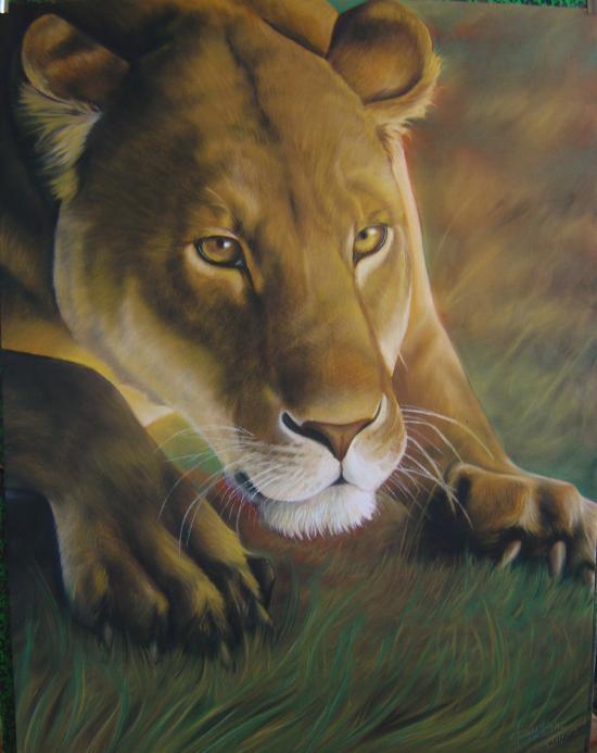 """""""Lionne en chasse"""" pastel 50*70cm"""