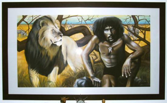 """""""Savane"""" fresque au pastel 2m50*1m40"""